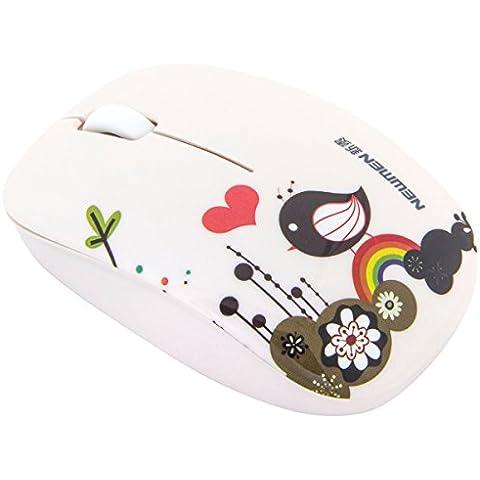 ShiRui MS201 Mini Mouse ottico Wireless da 2,4 GhZ con Click silenzioso e Mouse con (Button Optical Mini Mouse Pc)