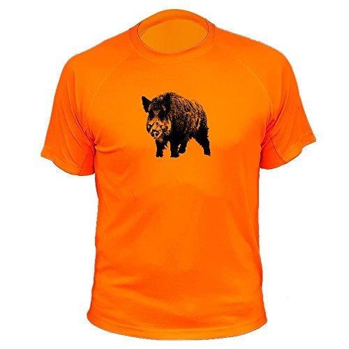 Lustiges Geschenk für Jäger Wildschwein einzeln - Jäger T shirt (20186, Orange, XXL)