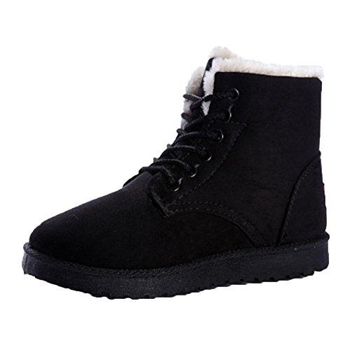 AARDIMI Neue Heiße Frauen Stiefel Schnee Warme Winterstiefel Lace Up Pelz Stiefeletten Damen Winterschuhe Frauen Schuhe (37, Schwarz) (Neue Stiefel Winter)