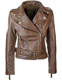 0158c0fbbd54 Aviatrix Perfecto Femme Cuir véritable Coupe cintrée Vintage Biker avec  Ceinture et Fermeture éclair