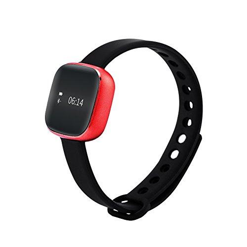 Smart Toch Screen Schrittzähler Fitness Wireless Aktivitäts- und Schlaf Tracker Armband (rot) (Mile Tracker-armband)