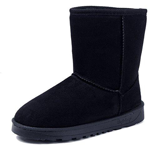 AgeeMi Shoes Donna Punta Tonda Slip On Foderato Pelliccia Inverno Neve Stivali,EuX02 Nero 36