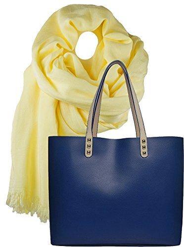 Portogarda Shopper Tasche, City Damenhandtasche, absolut im Trend, als Geschenk- Set mit langem Schal aus weichem Modal