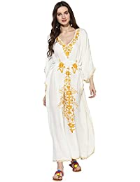 CRAFTBAZAR Women's Boho Embroidered White & Gold Kaftan (Free Size)