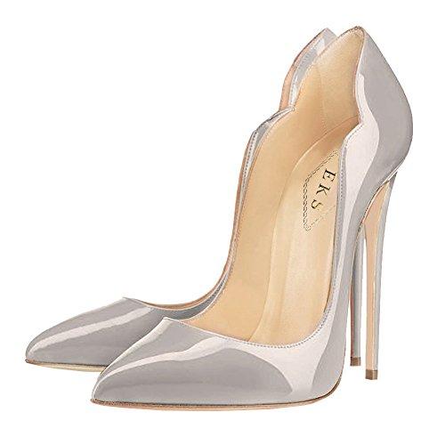 EKS Damen Gradient Spitze Lackleder Kleid-Partei Hochzeit Pumps Size 35-46 Grau