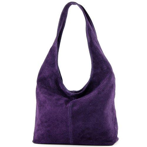 Borsa a mano borsa a tracolla shopping bag donna in vera pelle italiana T02 Dunkellila