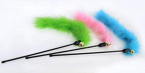 Leisial 3pcs Juguetes para Gatos con campanas Mascotas Barra Corta Plumas Juguete de Gato Varillas