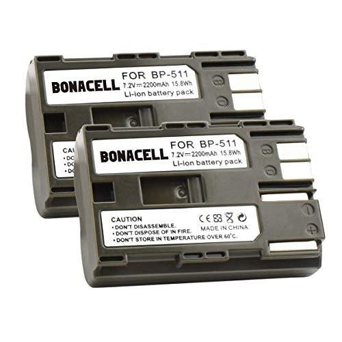 Bonacell 2X Akku für Canon BP-511 Kamera Ersatzakku 2200mAh Kompatibel mit Canon EOS 10D, 20D, 20Da, 30D, 40D, 50D, 5D, D30, D60/PowerShot G1, G2, G3, G5, G6/EOS Digital Rebel/Optura Xi (S) (Eos 40d Akku Canon)
