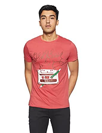 People Men's Printed Regular Fit T-Shirt (P1C110318CHO107_Pink_Small)