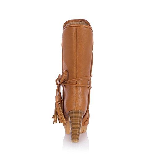 Coucou Womens PU cuir épais talon haut plateforme Glands dentelle Décoration d'hiver Bottes chaudes Marron