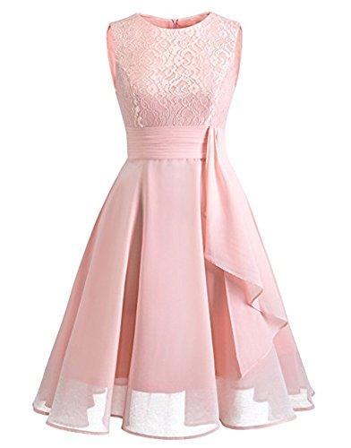 Cytree Damen Ärmellos Spitzekleid A-line Festlich Chiffon Party BallKleid Brautjungfernkleid Abendkleider (XL, Rosa) -
