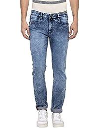 Urbano Fashion Men's Blue Slim Fit Stretch Washed Jeans