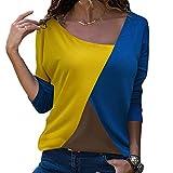 Blusa Moda Patchwork O-Neck Manga Larga Camiseta Tops Casual para Mujer Color Block Amarillo-Azul-Marrón XL