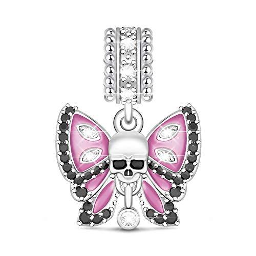 GNOCE Schmetterling Skull Totenkopf Charm Amethyst Perlen S925Charm für Armband und Kette Tolles Geschenk