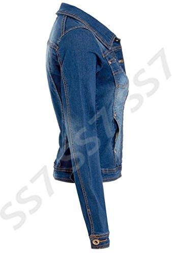 neu Damen Jeansjacke Stonewash Blau Größe 8 10 12 14 mittlere Waschung blau
