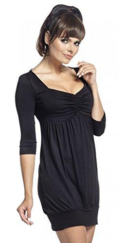 Zeta Ville - Tunique mini robe décolleté en coeur - manches 3/4 - femme - 957z Noir