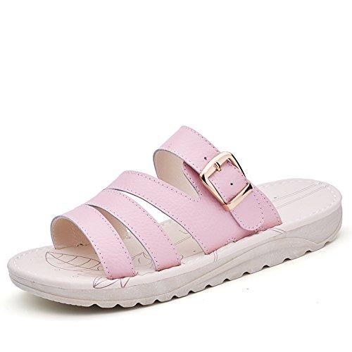 AJUNR Sandali Da Donna Alla Moda Pan di spagna pantofole casual 3cm quadrato con la rosa clip per cintura 36