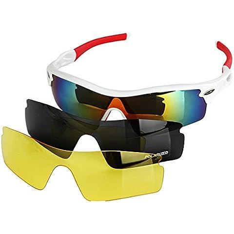 Pellor - Ciclismo Wrap correr al aire libre gafas de sol deportivas multi Gafas de deporte 3 Lentes intercambiables UV400 polarizado Unbreakable