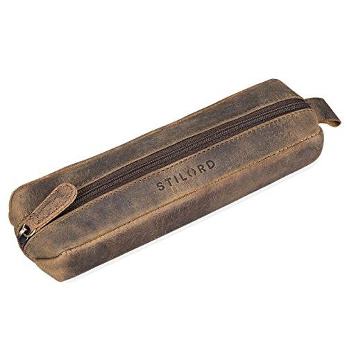 Stilord 'quinn' astuccio in pelle vintage portapenne cuoio con cerniera grande porta matite penne pennelli da donna uomo, colore:marrone medio