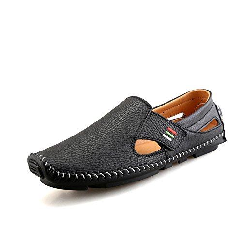 Douro Herren Mokassins Atmungsaktiv Schuhe Bequeme Müßiggänger Freizeitschuhe Halbschuhe (39, Schwarz)