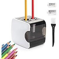 HOMMINI Sacapuntas electrico, Sacapuntas automático Pencil Sharpener con Dos Agujeros automÁtico,USB Cable Recargable,AA Pila/no Incluido, Aula de los niños, Oficina