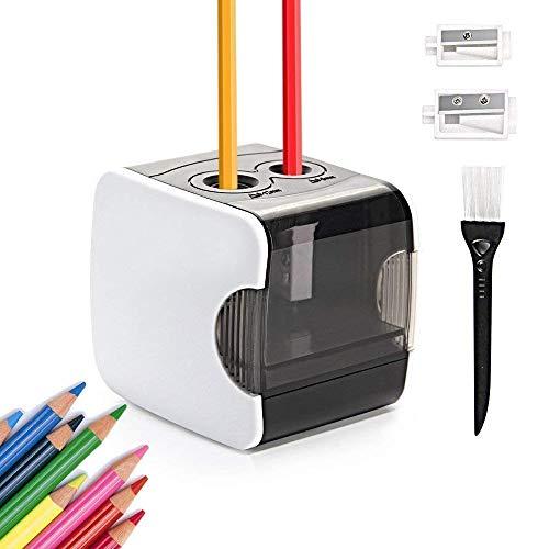 HOMMINI Sacapuntas electrico, Sacapuntas automático Pencil Sharpener con Dos Agujeros automÁtico,USB Cable...