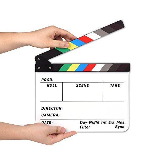 Acryl Clapboard Schindel Dry Erase Director Film-Film Clapper Board Slate mit Farbe Sticks (Farbe) (Movie Clapboard)