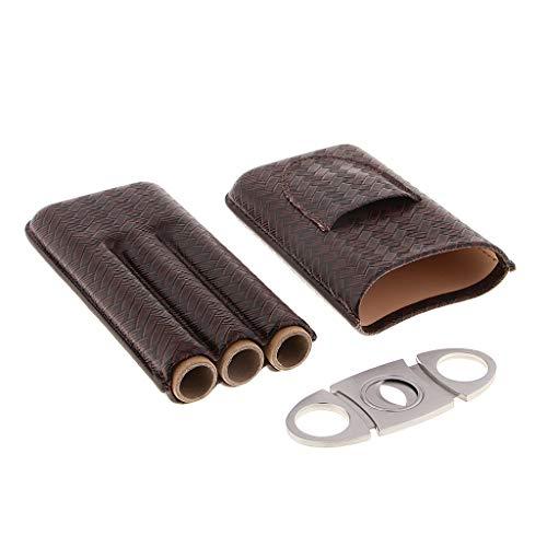 sharprepublic PU Leder Zigarre Humidor Travel Case 3 Halter Mit Zigarrenschneider Zum Rauchen - Braun, 172 × 83 × 38 mm -