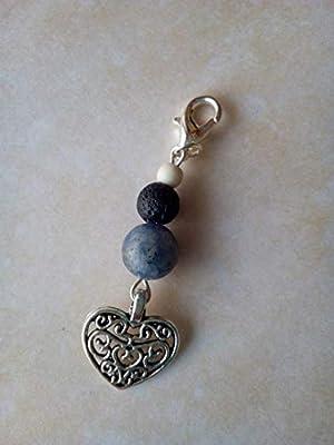 Bijou de sac en pierre naturelle de sodalite, pierre de lave et howlite, pendentif coeur, diffuseur d'huiles essentielles