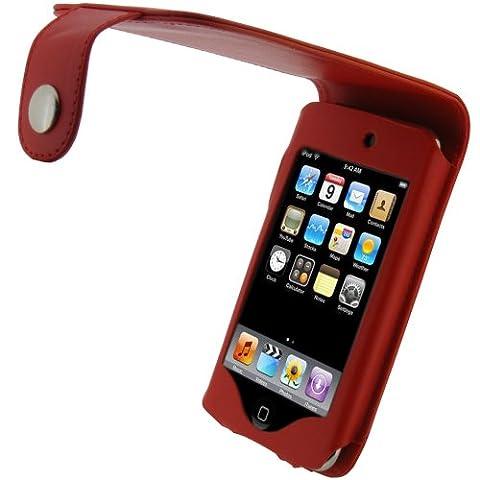 igadgitz Etui Poche relevable en Cuir PU, Housse de couleur Rouge, pour Apple iPod Touch 2G 2ème & 3G 3ème génération 8 go gb 16 go gb 32 go gb & 64 go gb + clip ceinture