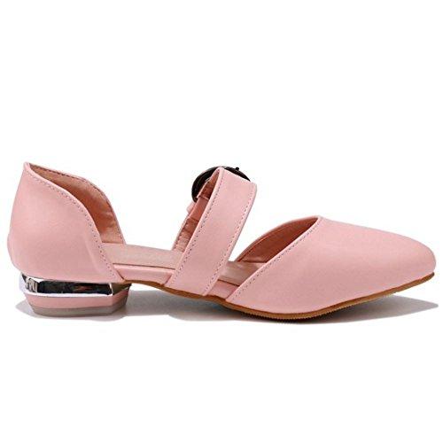 TAOFFEN Femme Confort Plat Sandales Boucle Bout Ferme Ete Ecole Chaussures Rose
