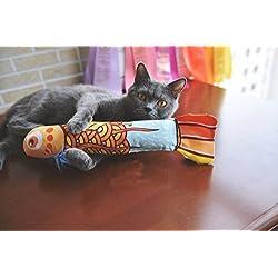 MAMACHU Gato Interactivo Juguete con Hierba Gatera Cat Scratcher Cat Toy with Catnip (Dorado)