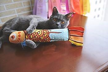 Jouet chat herbe à chat,MAMACHU Jouet pour Chat Poisson Chat Griffoir avec Cataire(or)