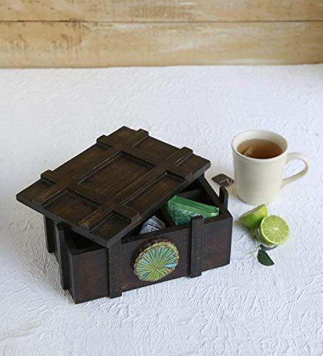 Handgefertigte Teekiste aus Holz mit handgefertigtem Fach Wooden Tea Box Andenken Aufbewahrungsbox für Tee-Aufbewahrungsbox für die Erwärmung des Hauses Geschenking-Zweck