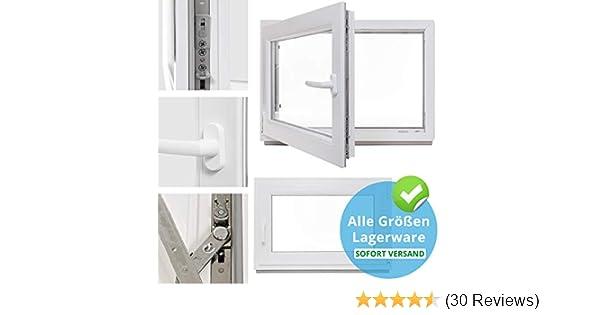 Fenster DIN Links BxH: 50 x 40 cm Kellerfenster 3 fach Verglasung 500 x 400 mm Kunststoff 60 mm Profil wei/ß