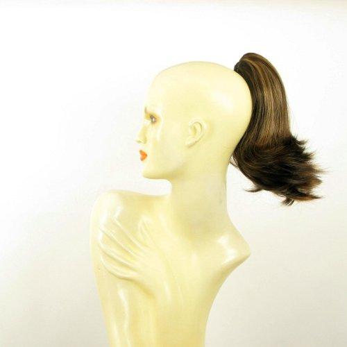 Postiche queue de cheval extension femme courte 28 cm chocolat méché cuivré ref 9 en 627c