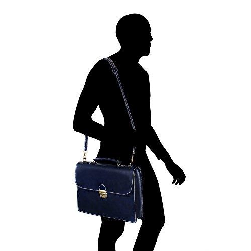 Unisex Aktenkoffer, Business Handtasche mit Schulterriemen, Laptophalter, aus echtem Leder Made in Italy Chicca Borse 38x27x7 Cm Blau