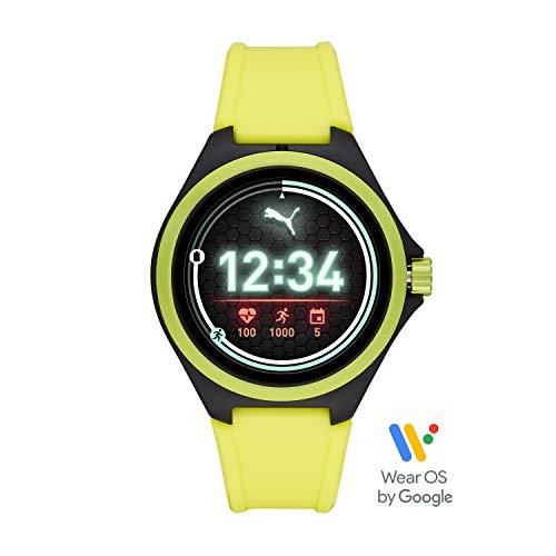 Foto PUMA Sport - Smartwatch da uomo con frequenza cardiaca da 44 mm, touchscreen leggero con fascia in silicone giallo neon - PT9101