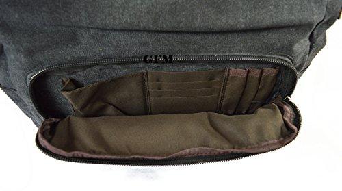 Seconds GFM -  Borsa Messenger classica in tessuto ideale per la scuola, per portare in  ufficio, in viaggio - Stile casual Large - #45CKL - Charcoal Black
