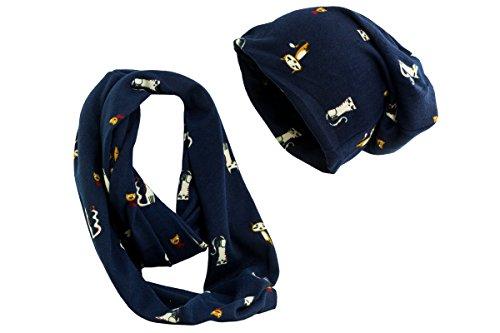 shenky Wunderbare Mütze und Schal Set Kombination (Katze Navy)