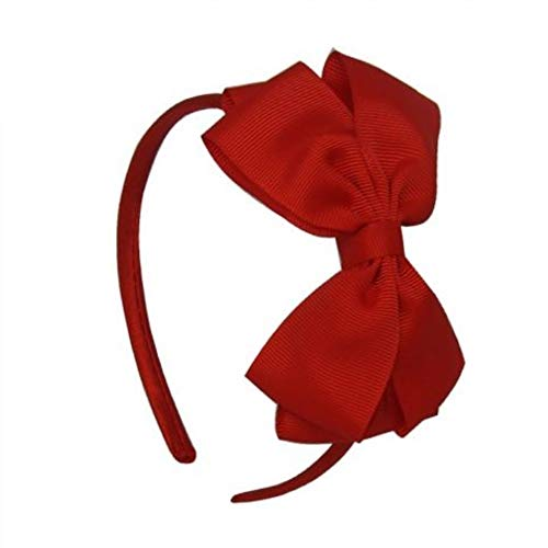 Aliceband with Bow - Girls Ribbon Hair Band - Red by Thingers UK