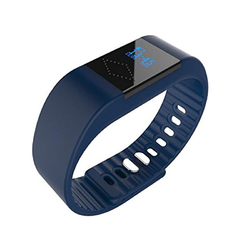 Sports Bracelet, Rcool Bluetooth Smart Wristband Sleep Sports Fitness Health Monitor Activity Tracker Step Pedometer Smart Watch Bracelet Compatible with iPhone iOS and Android Phone (Navy)