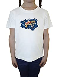 Alto Saltar Atleta Niña Niños Camiseta Cuello Redondo Blanco Algodón Manga Corta Girls Kids T-shirt White