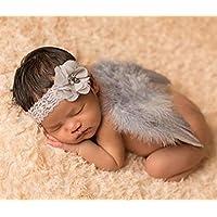 Tasmine Baby Newborn Foto Shooting Kostüm Engel Flügel Angel Feder mit Blume Haar Band Stil 2
