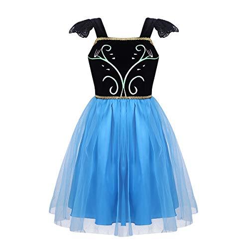 (dPois Mädchen Festlich Kleid Prinzessin Kleid Kleinkind Fasching Karneval Kleid Säugling Märchen Kleid Kostüm Cosplay Party Kleid Kommunion Kleid Gr. 68-110 Schwarz&Blau 104-110/4-5Jahre)