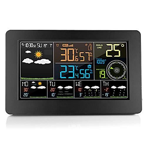 Persiven Multifunktions -WiFi Digital -Wecker Smart Wetter Station Indoor Outdoor Temperaturfeuchtigkeit mit APP Control SM2710-1102, Schwarz
