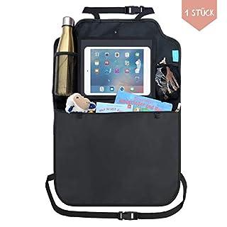 Premium Rückenlehnenschutz Auto (1 Stück) Autositz Organizer mit Taschen + Tablet iPad Fach | Trittschutz wasserdicht Autositzschoner Back Seat Cover Protector | Rücksitzorganizer Schutz Kinder