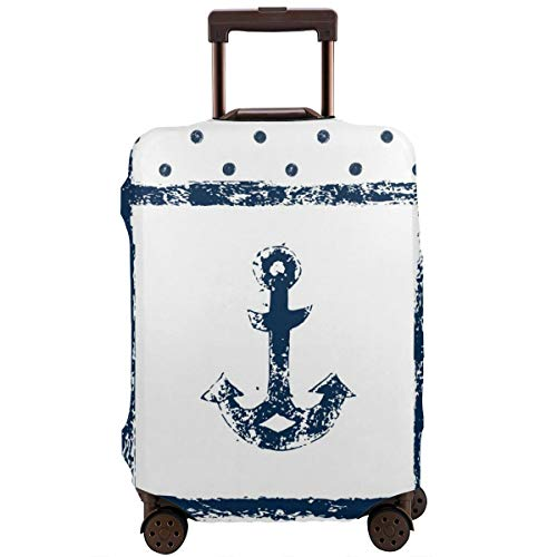 Travel Suitcase Protector,Grunge Murk Boat Anchor Silhouette with Polka and Stripe Retro Patterns Navy Theme Bathroom Accessories,Suitcase Cover Washable Luggage Cover XL