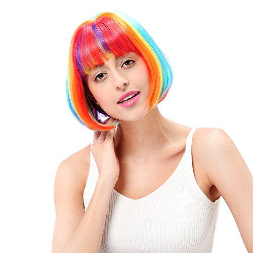 STfantasy Pastell Regenbogen Perücke Bob Pony Kurze Ombre Farbe für Frauen Kostüm Party Haar 12