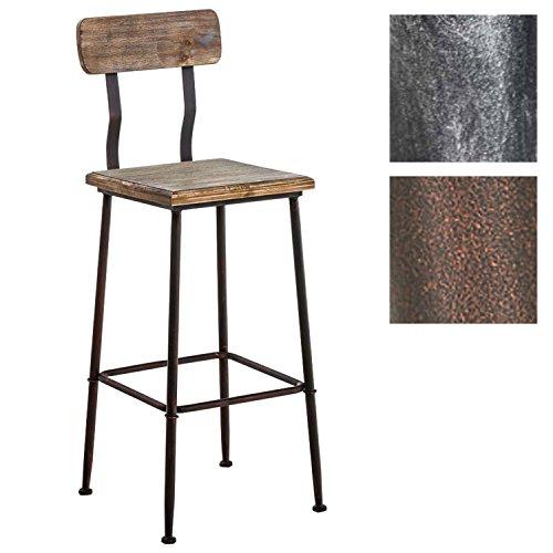 CLP Industrial Design Barhocker QUEENS aus Holz mit Lehne und Fußstütze | Barstuhl mit pulverbeschichtetem Metallgestell und einer Sitzhöhe von ca.75 cm Bronze